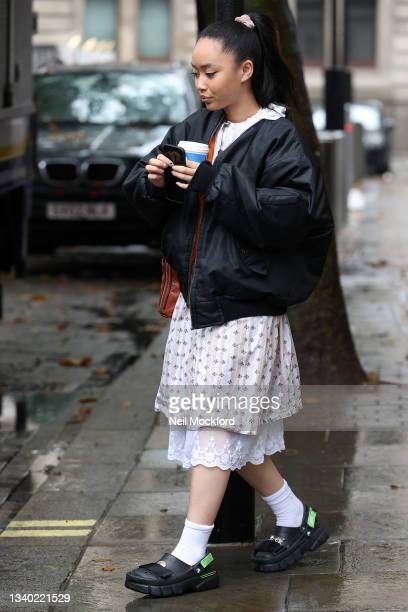 Sarah Faith Griffiths, known professionally as Griff, seen leaving an interview at Capital Breakfast Radio Studios on September 14, 2021 in London,...
