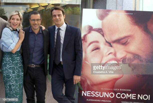 Sarah Felberbaum Luca Bianchini and Alessandro Preziosi attend Nessuno Come Noi photocall on October 9 2018 in Rome Italy