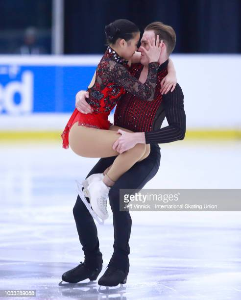 Sarah Feng and Luthra Nishchay of the USA skate in the junior pairs short program during the 2018 Junior Grand Prix of Figure Skating on September 14...