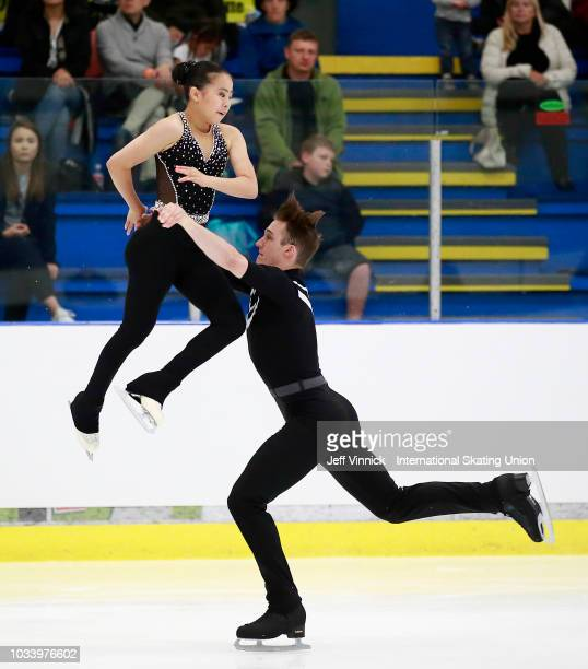 Sarah Feng and TJ Nyman of USA perform during their junior pairs final skate at the 2018 Junior Grand Prix of Figure Skating on September 15 2018 in...