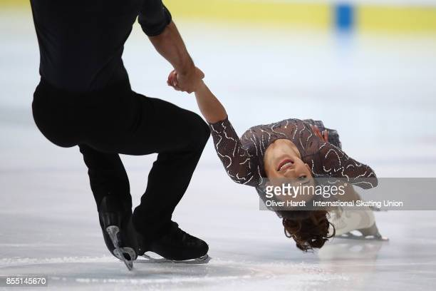 Sarah Feng and Tommy Jo Nyman of United States performs in the Junior Pairs Short Program during day two of the ISU Junior Grand Prix of Figure...