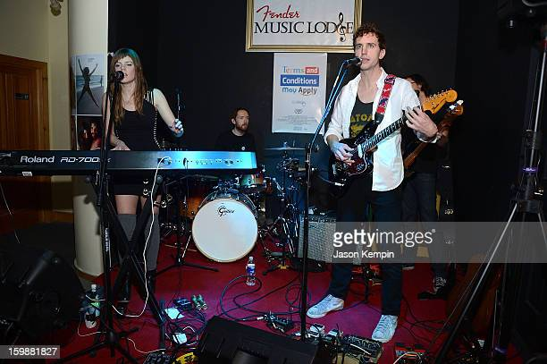 Sarah Fennell Patrick Hughes and Matt Sheehy of the band Lost Lander perform at the Terms And Conditions May Apply Privacy Invasion Party on January...