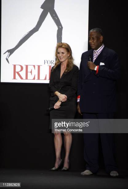 Sarah Ferguson and Andre Leon Talley during Olympus Fashion Week Spring 2006 Fashion For Relief Inside at Bryant Park in New York City New York...