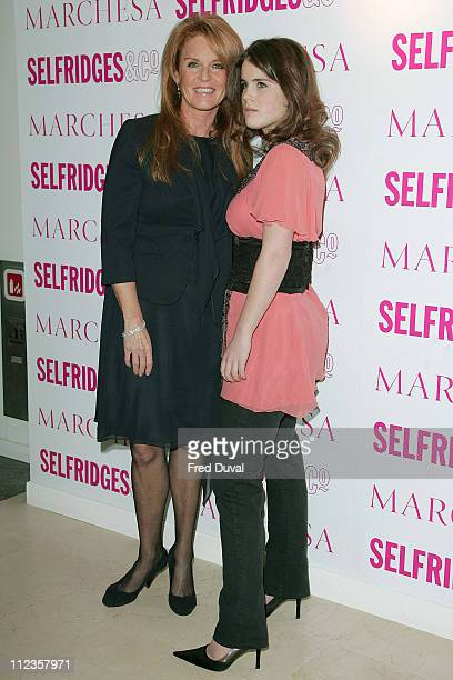 Sarah Ferguson and daughter Eugenie during Marchesa Launches Exclusive Collection at Selfridges March 22 2006 at Selfridges in London United Kingdom