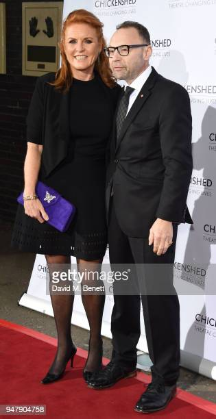 Sarah Ferguson and Jonathan Shalit attend a drinks reception ahead of 'An Evening With Chickenshed' charity performance at ITV Studios on April 17...