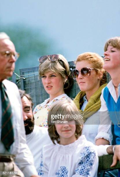 Sarah Ferguson And Lady Diana Spencer Watching Polo At Cowdray Park Polo Club