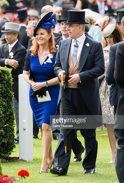 Sarah Ferguson and Prince Andrew, Duke of York attend day 4 of Royal Ascot at Ascot Racecourse on June 19, 2015 in Ascot, England.