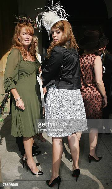 Sarah Ferguson and Princess Beatrice attend the wedding of Chloe Delevingne and Louis Buckworth on September 7 2007 in London England