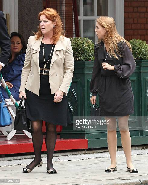 Sarah Ferguson and Princess Beatrice leave 'Harry's Bar' in Mayfair at Goldsmiths College on September 9 2011 in London England