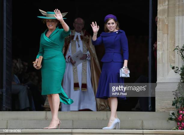 Sarah Ferguson and Princess Beatrice of York arrive ahead of the wedding of Princess Eugenie of York to Jack Brooksbank at Windsor Castle on October...