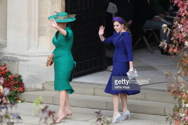 Sarah Ferguson and Princess Beatrice of York arrive for the wedding of Princess Eugenie of York and Jack Brooksbank at St George's Chapel Windsor...