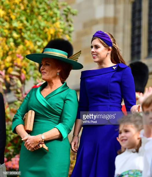 Sarah Ferguson and Princess Beatrice of York outside St George's Chapel following the wedding of Princess Eugenie to Jack Brooksbank on October 12...
