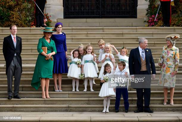 Sarah Ferguson and Princess Beatrice Prince Andrew Duke of York Thomas Brooksbank the bridesmaids and page boys including Prince George and Princess...