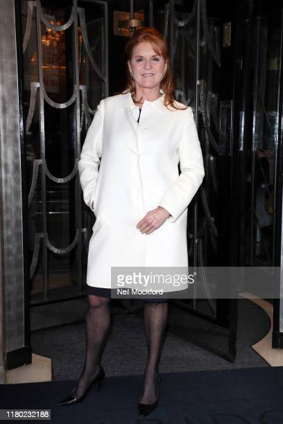 Sarah Ferguson arrives at Claridge's for the Hello Mother Daughter Afternoon Tea event to mark the International Day of the Girl on October 10 2019...