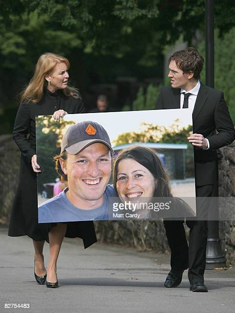 Sarah Ferguson Duchess of York and Adam Mullany brother of Ben leave the Memorial Service for murdered honeymooners Ben and Catherine Mullany...