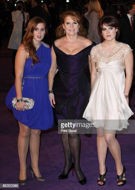 Sarah Ferguson, Duchess of York and daughters Princess Eugenie and Princess Beatrice attend the World Premiere of 'The Young Victoria' at the Odeon...