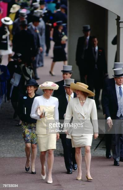 Sarah Ferguson Duchess of York and Diana Princess of Wales at Royal Ascot Races