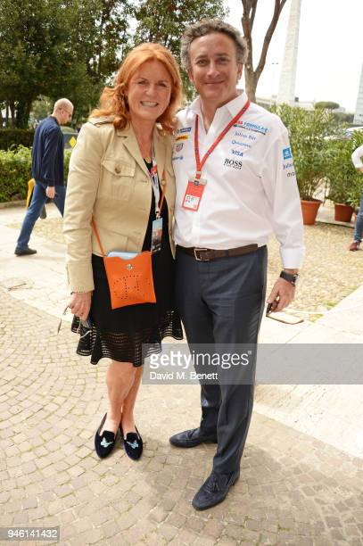 Sarah Ferguson Duchess of York and FIA Formula E CEO Alejandro Agag attend the ABB FIA Formula E CBMM Niobium Rome EPrix 2018 on April 14 2018 in Rome