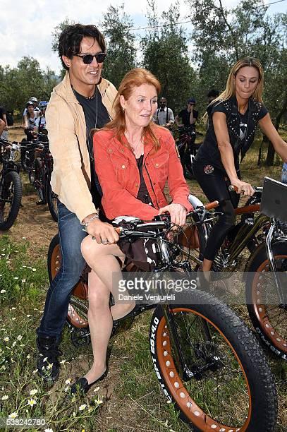 Sarah Ferguson Duchess of York and Gabriel Garko attends Matchless E Bike Presentation on June 5 2016 at Casone Ugolino in Castagneto Carducci near...