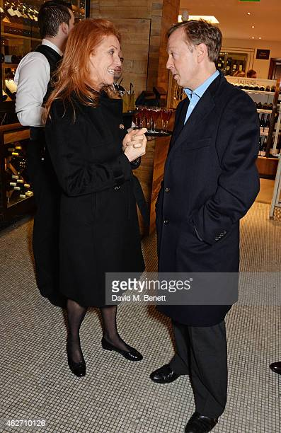 Sarah Ferguson Duchess of York and Geordie Greig attend the launch of A Collection Of Contemporary British Love Poetry at Fortnum Mason on February 3...
