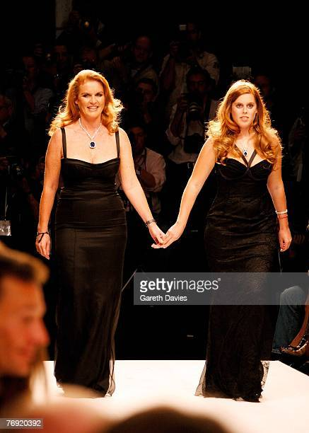 Sarah Ferguson Duchess of York and her daughter Princess Beatrice walk down the runway at the 'Fashion For Relief' show in support of the Rotary...