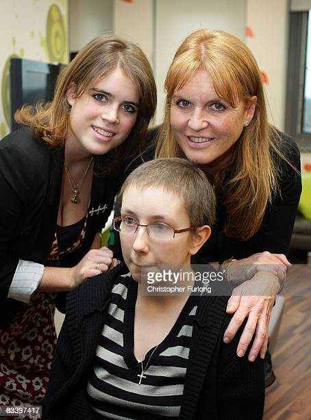 Sarah Ferguson Duchess of York and her daughter Princess Eugenie pose with cancer patient Naomi Wilson aged 20 of Selby during a visit to the new...