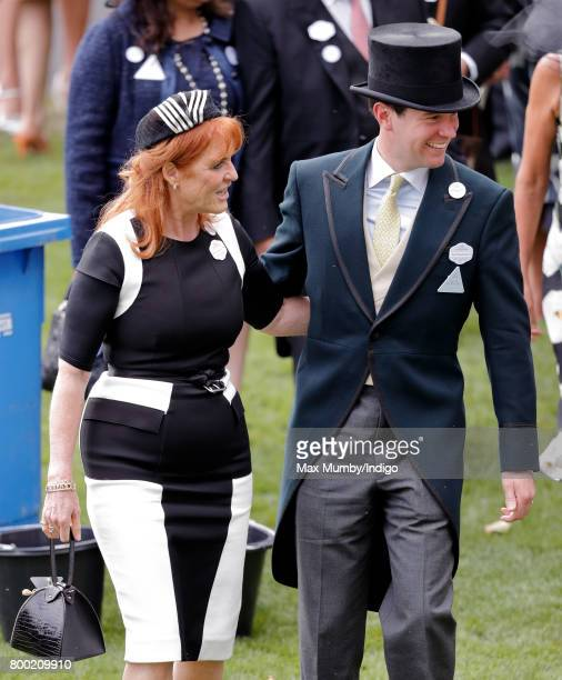 Sarah Ferguson Duchess of York and Jack Brooksbank attend day 4 of Royal Ascot at Ascot Racecourse on June 23 2017 in Ascot England