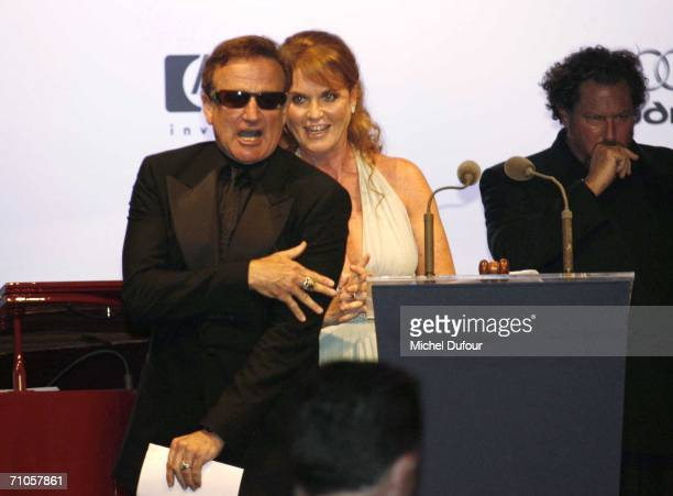 """Sarah Ferguson, Duchess of York and Julian Schnabel participate in the auction at """"Cinema Against AIDS 2006"""", the annual event in aid of amfAR at Le..."""