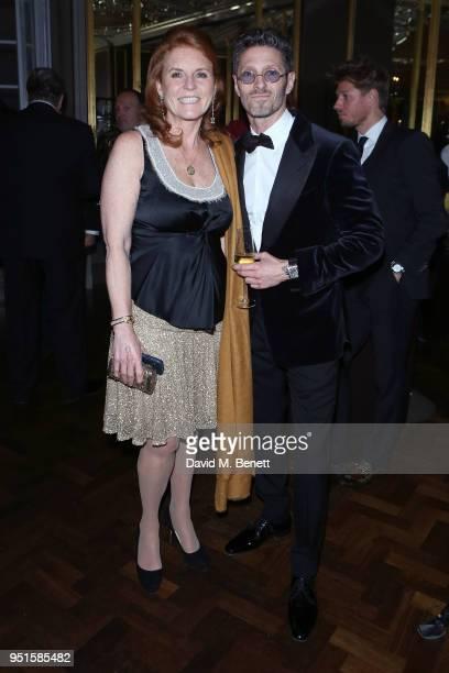 Sarah Ferguson, Duchess of York and Kaspar Basse attend the Le Cercle SGC Dinner, 'A Golden Affair' at Cafe Royal on April 26, 2018 in London,...