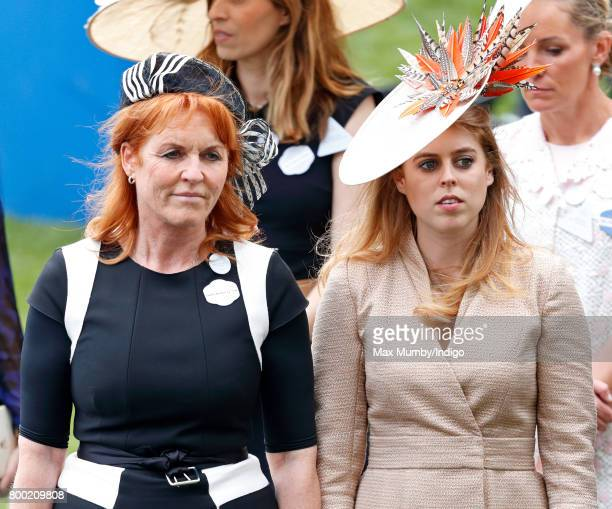 Sarah Ferguson Duchess of York and Princess Beatrice attend day 4 of Royal Ascot at Ascot Racecourse on June 23 2017 in Ascot England
