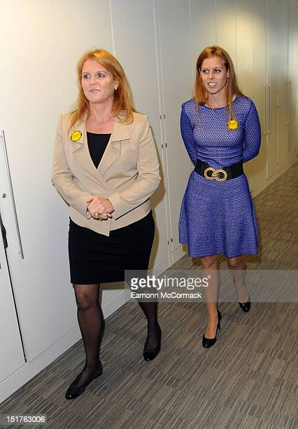 Sarah Ferguson Duchess of York and Princess Beatrice attend the annual BGC charity day at BGC Partners on September 11 2012 in London England