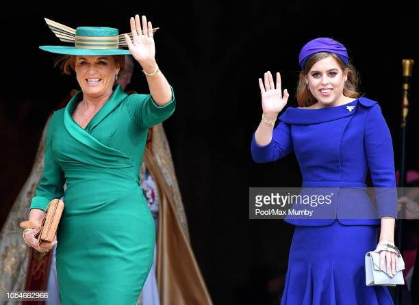 Sarah Ferguson Duchess of York and Princess Beatrice attend the wedding of Princess Eugenie of York and Jack Brooksbank at St George's Chapel on...