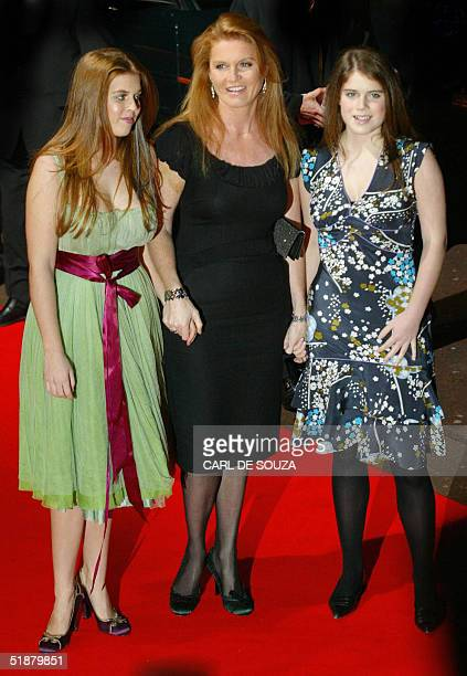 Sarah Ferguson, Duchess of York arrives at the Odeon cinema, Leicester Square, in London with daughters Princess Beatrice and Princess Eugenie for...