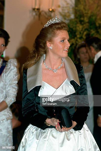 Sarah Ferguson Duchess of York attending a banquet at Claridges Hotel in honour of King Fahd