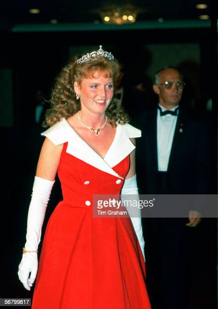 Sarah Ferguson, Duchess of York attending a banquet in Toronto during a visit to Canada.