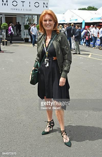 Sarah Ferguson Duchess of York attends day 2 of the 2016 FIA Formula E Visa London ePrix in Battersea Park on July 3 2016 in London England