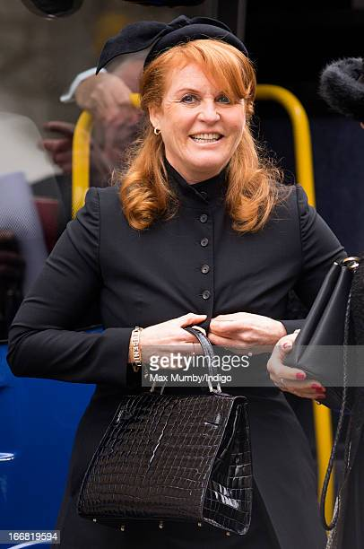 Sarah Ferguson Duchess of York attends the funeral of former British Prime Minister Baroness Margaret Thatcher at St Paul's Cathedral on April 17...
