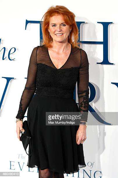 Sarah Ferguson Duchess of York attends the UK Premiere of 'The Theory Of Everything' at Odeon Leicester Square on December 9 2014 in London England