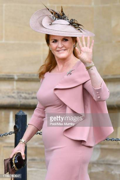 Sarah Ferguson Duchess of York attends the wedding of Lady Gabriella Windsor and Thomas Kingston at St George's Chapel on May 18 2019 in Windsor...