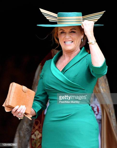 Sarah Ferguson, Duchess of York attends the wedding of Princess Eugenie of York and Jack Brooksbank at St George's Chapel on October 12, 2018 in...