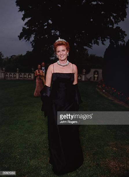 Sarah Ferguson Duchess of York attends the White Tie and Tiara Ball hosted by Sir Elton John at his Windsor mansion England on July 5 2001 The gala...