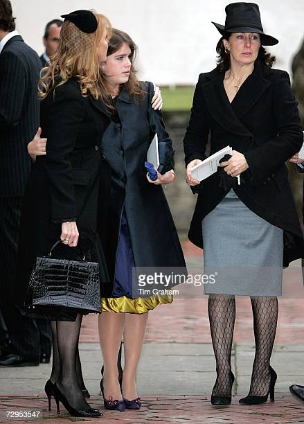 Sarah Ferguson Duchess of York comforts her daughter Princess Eugenie and talks with a friend at a Thanksgiving Service for the life of their close...