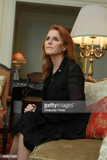 Sarah Ferguson Duchess of York during an exclusive interview for HT CityHindustan Times at Hotel Leela on November 7 2015 in New Delhi India Sarah is...