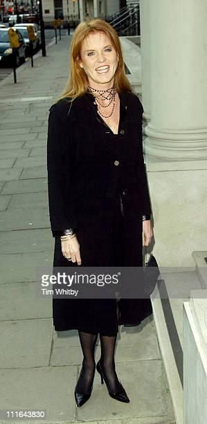 Sarah Ferguson Duchess of York during Salvatore Ferragamo Dinner Fashion Show Arrivals at Italian Embassy in London Great Britain
