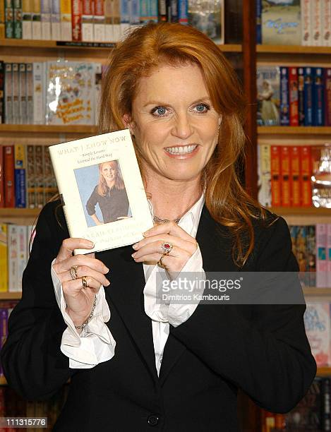 Sarah Ferguson Duchess of York during Sarah Ferguson Duchess of York Signs Her Book 'What I Know Now' at Barnes and Noble Rockefeller Plaza in New...