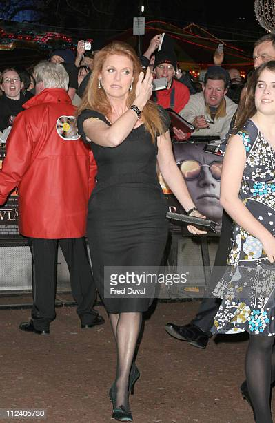 Sarah Ferguson Duchess of York during 'The Aviator' London Premiere Arrivals at Odeon West End Leicester Square in London Great Britain
