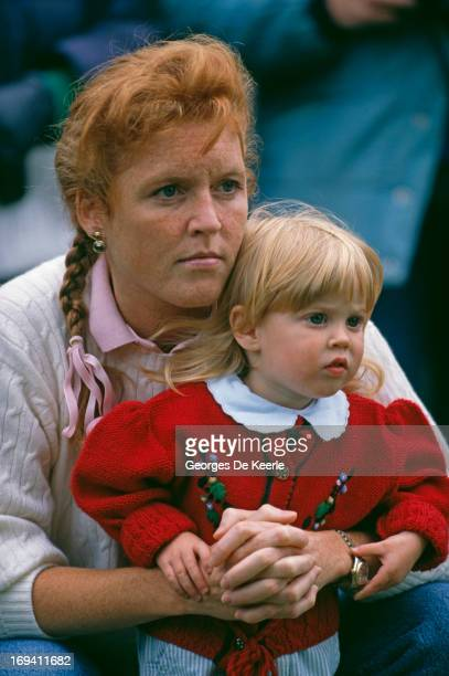 Sarah Ferguson Duchess of York holding her daughter Princess Beatrice of York at the Royal Windsor Horse Show 12th May 1990