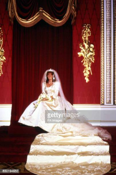 Sarah Ferguson Duchess of York in her wedding gown at Buckingham Palace after her marriage to Prince Andrew Duke of York at Westminster Abbey