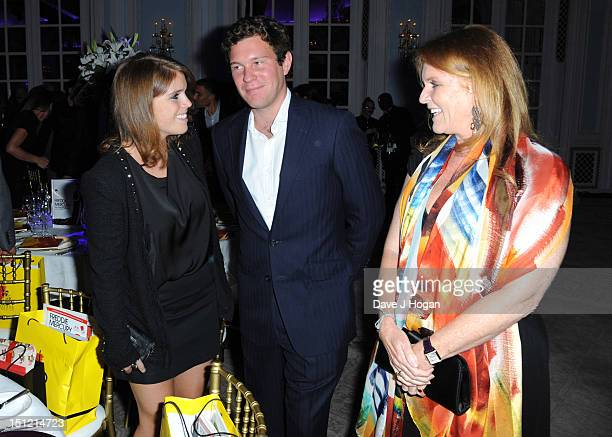 Sarah Ferguson Duchess of York Jack Brooksbank and Princess Eugenie of York attend the second annual Freddie For A Day event in memory of Queen's...