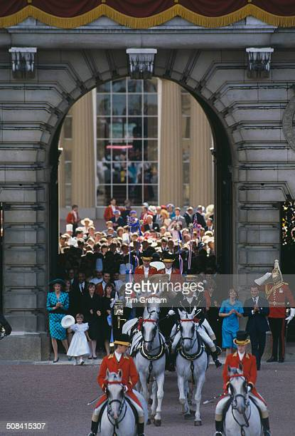 Sarah Ferguson Duchess of York leaves Buckingham Palace with Prince Andrew after their wedding London 23rd July 1986 The couple are setting off on...